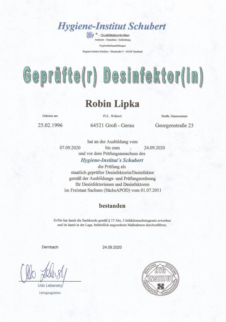 Tatortreinigung Lipka Zertifikat, Geprüfter Desinfektor